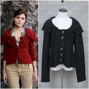 Anthro Guinevere Carved Cove Wool Sweater Jacket L